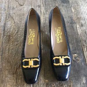 Salvatore Ferragamo Black Reptile Leather Heel 8AA